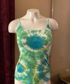 Small Womens Green Geode Tie Dye Tank Top