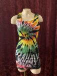 black rainbow spiral tie dye tank top dress