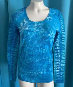 crunch pleat blue tie dye long sleeve womens shirt medium