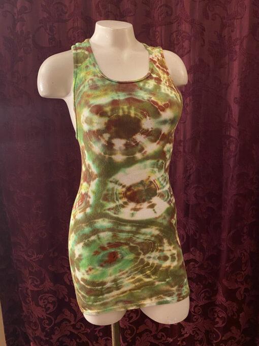 green brown geode tie dye tank dress