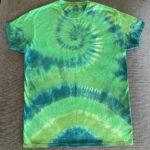 green spiral tie dye shirt