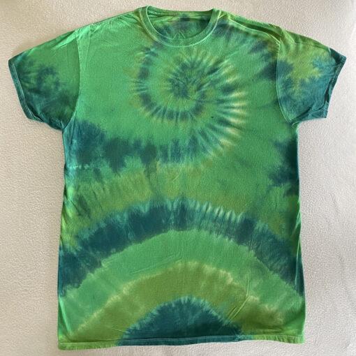 green st patricks day tie dye spiral shirt