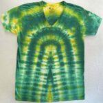 green yellow tie dye vneck