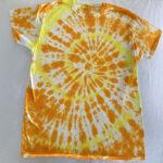 orange yellow spiral tiedye shirt