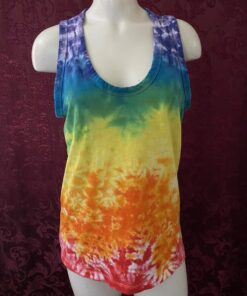 rainbow chakra tie dye tank top womens