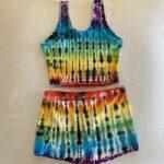 rainbow pleat tie dye pajama short set