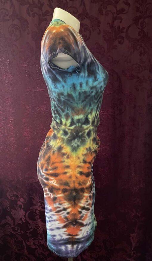 rainbow sexy tie dye dress