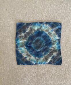 silk tie dye hanky blue geode