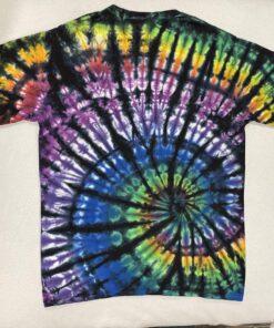 spiral black rainbow tie dye