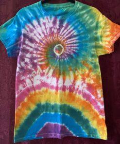 spiral rainbow tie dye mens small