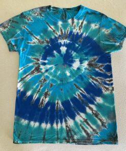 tie dye geode spiral blue mens small