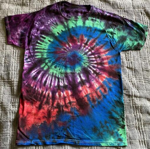 dark spiral tie dye shirt