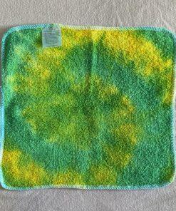 green yellow tie dye wash cloth